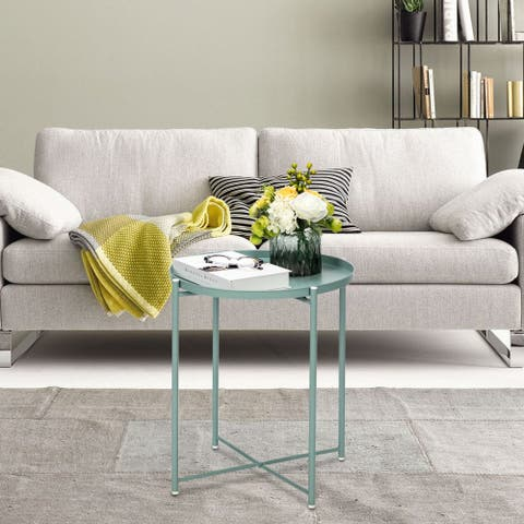 Round Metal Countertop Side Table Living Room End Table