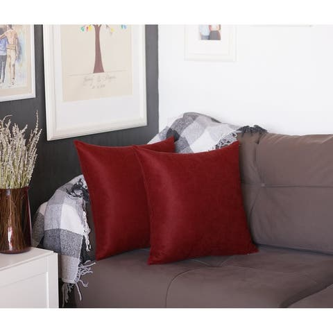 Square Solid Color 22-inch Throw Pillow Cover (Set of 2)