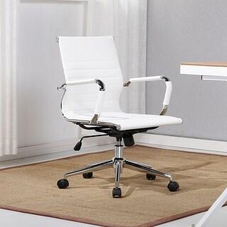 Belleze Mid-Back Ribbed Upholstered Leather Tilt Swivel Armrest Chair, White