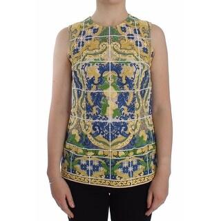 Dolce & Gabbana Multicolor Majolica Embroidered Sweater - it40-s
