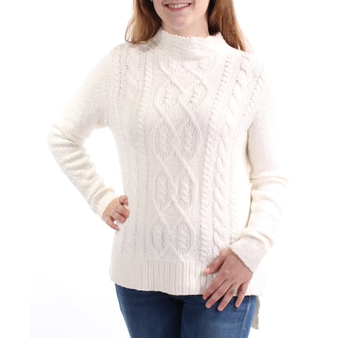 KENSIE Womens Ivory Long Sleeve Jewel Neck Hi-Lo Sweater Size: XS