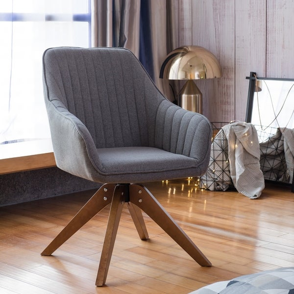 Modern Home Office Swivel Arm Accent Chair with Wood Legs. Opens flyout.
