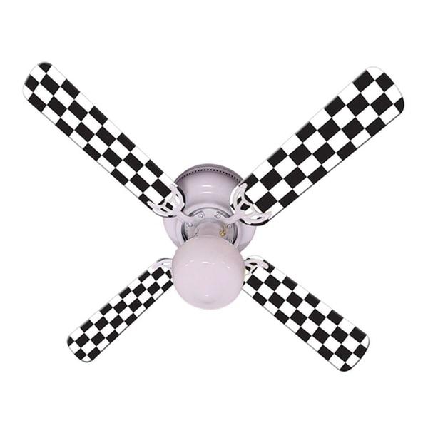Checkered Flag Print Blades 42in Ceiling Fan Light Kit - Multi