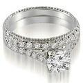 1.55 cttw. 14K White Gold Vintage Cathedral Round Cut Diamond Bridal Set - Thumbnail 0