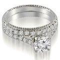 1.80 cttw. 14K White Gold Vintage Cathedral Round Cut Diamond Bridal Set - Thumbnail 0