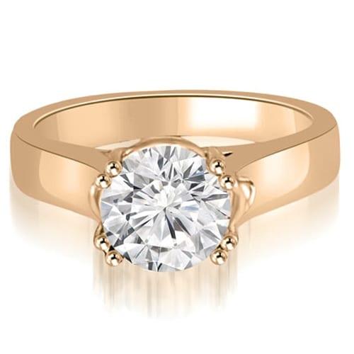 0.75 cttw. 14K Rose Gold Trellis Solitaire Round Cut Diamond Engagement Ring