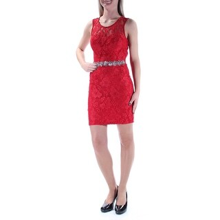 Womens Red Sleeveless Mini Sheath Cocktail Dress Size: 3