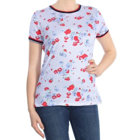 RALPH LAUREN Womens Blue Striped Floral Print Short Sleeve Crew Neck T-Shirt Top Size: M