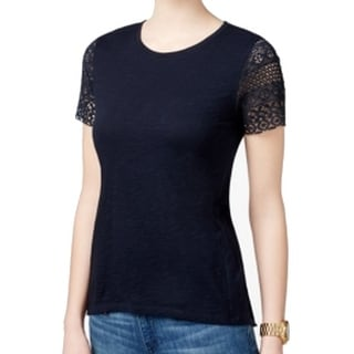 Michael Kors NEW Blue Women's Size Small S Lace-Sleeve Tee T-Shirt