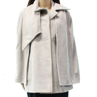 Tahari NEW Beige Women's Size Medium M Wool Blend Snap Button Coat