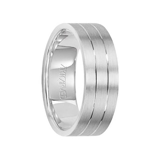 LOVE LIGHT 14k White Gold Wedding Band Dual Linear Grooved Center Brushed Finish Flat Edges By Artcarved 7 Mm