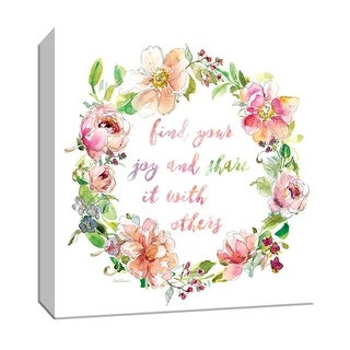 """PTM Images 9-147409  PTM Canvas Collection 12"""" x 12"""" - """"Joy Wreath"""" Giclee Sayings & Quotes Art Print on Canvas"""