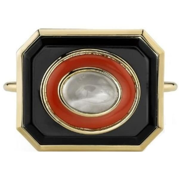 House of Harlow by Nicole Richie Womens Cuff Bracelet Faux Moonstone Enameled - coral/black/gold