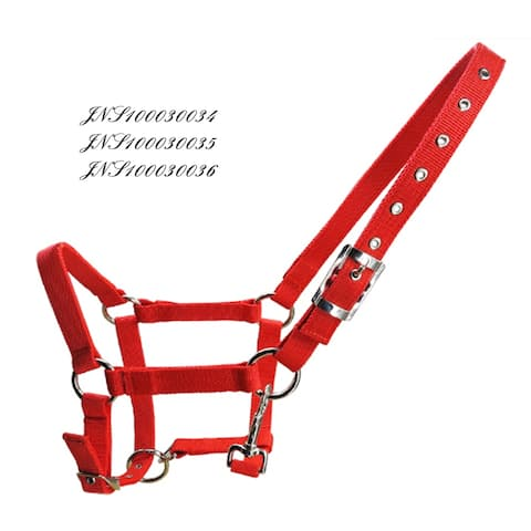 6mm Thick Horse Halter Metal Eyelet With Hook - red - XL