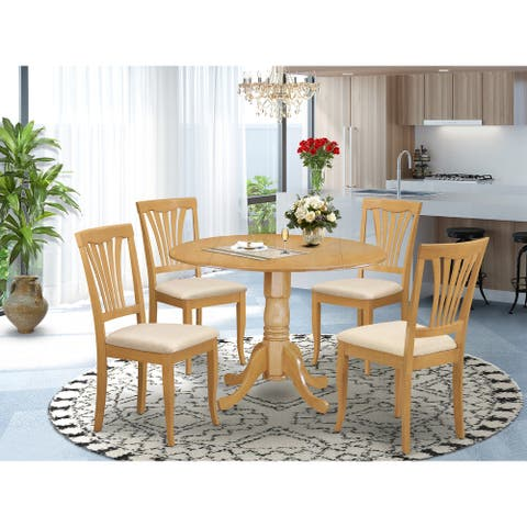 5-piece Oak-finished Dining Set w/ Round Table and 4 Chairs (Finish Option)