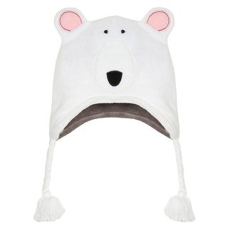 FlapJackKids Youth Reversible Winter Animal Hats - Cute Fleece Peruvian Beanie - youth 3 - 8
