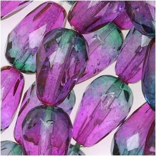 Czech Fire Polished Glass Two Toned Beads 10 x 7mm Teardrop Purple Green (12)