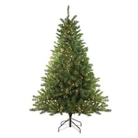 8' Pre-Lit Canadian Pine Artificial Christmas Tree - Clear Lights - green