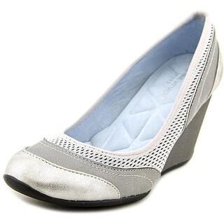 Adrienne Vittadini Vitus Women Open Toe Synthetic Gray Wedge Heel