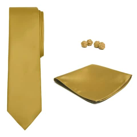 Jacob Alexander Solid Color Men's Tie Hanky and Cufflink Set - One Size