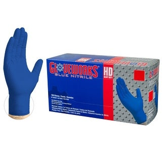 GLOVEWORKS GWRBN Heavy Duty Royal Blue Diamond Texture Nitrile Industrial Latex Free Disposable Gloves (Box of 100) by AMMEX