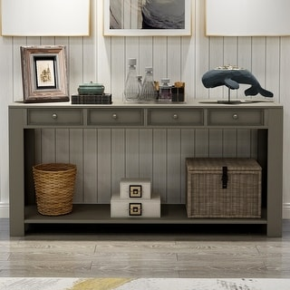 Grey Console Table with 4 Storage Drawers
