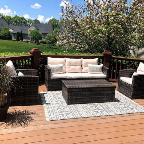 BestLiving 4 Piece Rattan Sofa Seating Group with Cushions