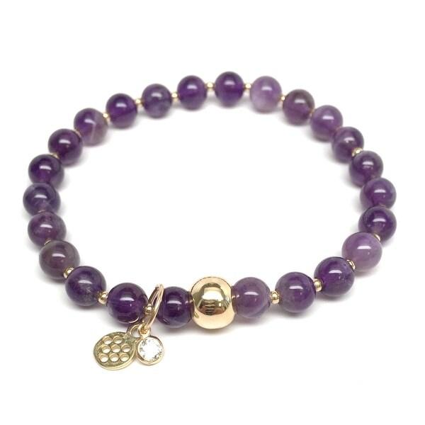 """Purple Amethyst Lily 7"""" Bracelet"""