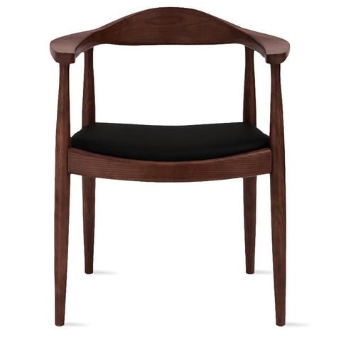 2xhome Solid Real Oak Dark Wood PU Leather Cushion Seat Kennedy Chairs with Arm Armchair Dining Hans Wegner Style Kitchen