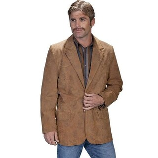 Scully Western Blazer Mens Leather Button Flap Pockets Maple