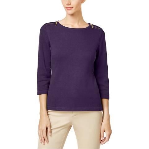 Karen Scott Womens Zip-Shoulder Pullover Sweater, Purple, Small