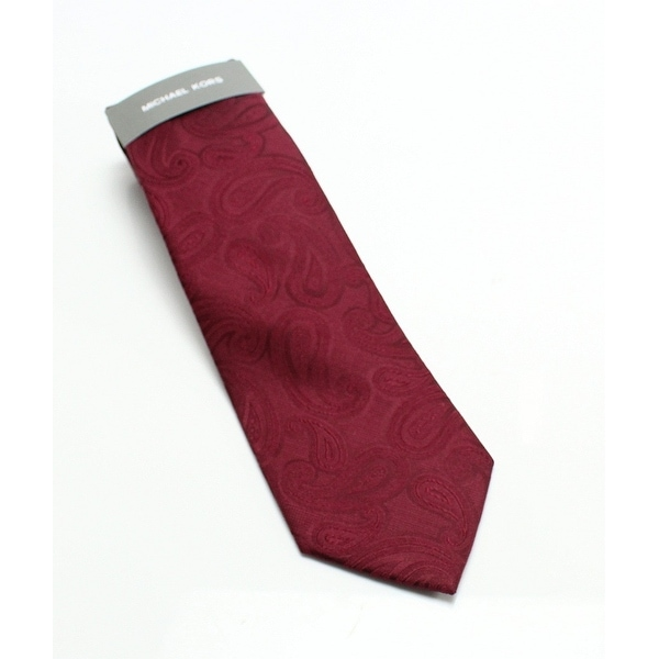 d2389813137b Shop Michael Kors Burgundy Unsolid Solid Paisley Men's Silk Necktie - Free  Shipping On Orders Over $45 - Overstock - 26906422