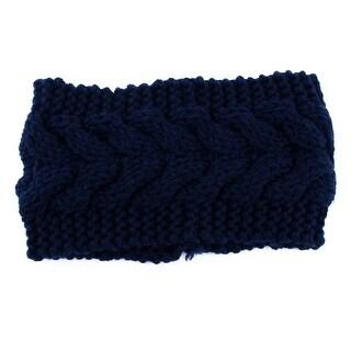 Woman Twist Braided knitted Head Wrap Hair Band Sports Ski Headband Navy Blue