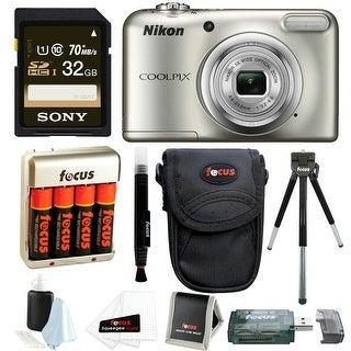 Nikon Coolpix A10 Digital Camera with 32GB Card + Batteries and Bundle - Black