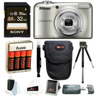 Nikon Coolpix A10 Digital Camera with 32GB Card + Batteries and Bundle