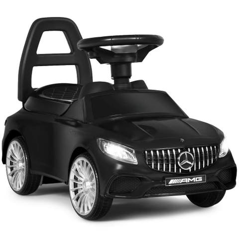 Gymax Licensed Mercedes Benz Kids Ride On Push Car Gliding Scooter - Black