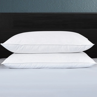 2 Pack Firm Feather Bed Pillows for Side and Back Sleepers - White