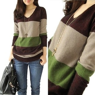 Fashion Woman Autumn And Winter Women'S V-Neck Stitching Cashmere Sweater Dress