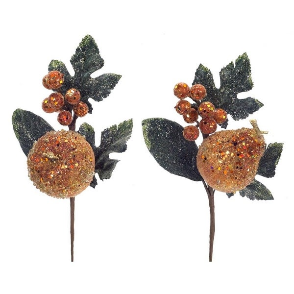 Pack of 12 Decorative Copper Orange and Green Artificial Glittered Apple and Pear Craft Picks 12""