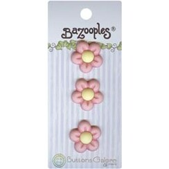 Pink Flowers - Bazooples Buttons