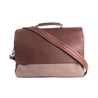 Brunello Cucinelli Men's Two Tone Brown Double Zip Messenger Bag - no size