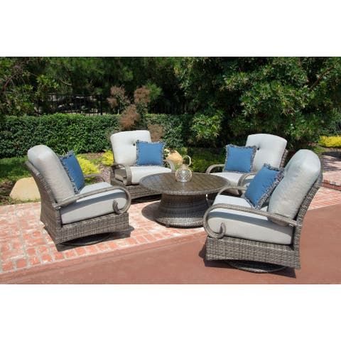 Barcalounger Outdoor Living Captiva Isle 5pc Patio Conversation Set with 4 Swivel Glider Chairs