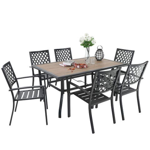 """PHI VILLA 7 Piece Outdoor Patio Furniture 37.4"""" x 59.8"""" Wood Like Rectangular Dining Table and Chairs"""