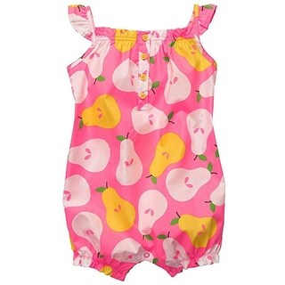 Carter's Baby Girls' Flutter Sleeve Pink Pear Romper Sunsuit