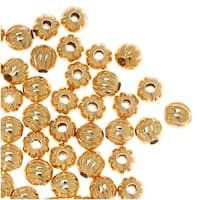 Genuine 22K Gold Plated Fluted Corrugated Round Metal Beads 3mm (100)