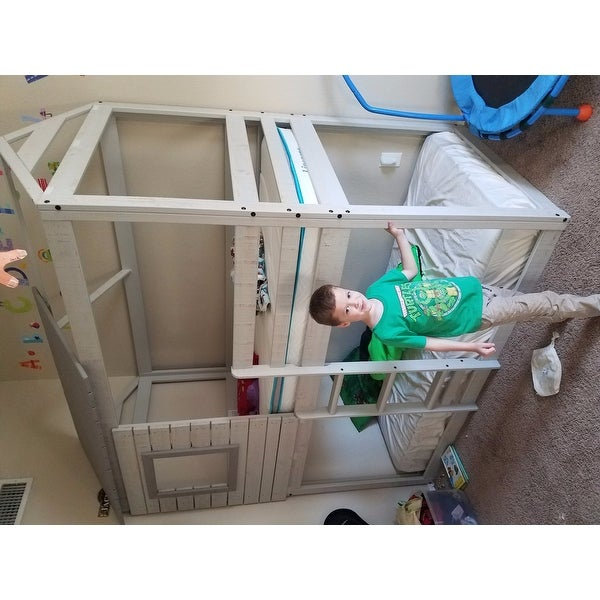 Shop Donco Kids Loft Style Light Grey Twin Over Twin Bunk Bed With