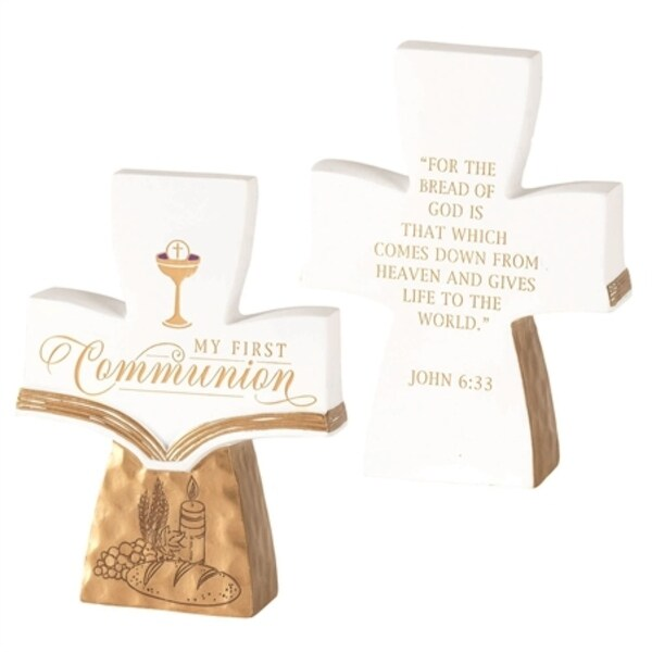 """5"""" White and Gold """"MY FIRST COMMUNION"""" Cross Shaped Tabletop Decor - N/A"""