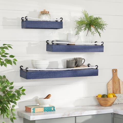 "Set of 3 Blue Wood Contemporary Wall Shelves 32"", 25"", 17""W - 32 x 8 x 5"