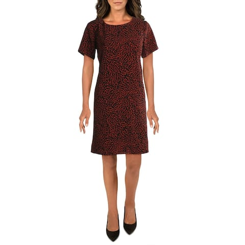 Bobeau Womens Shift Dress Animal Print Cut-Out - Black/ Red Animal