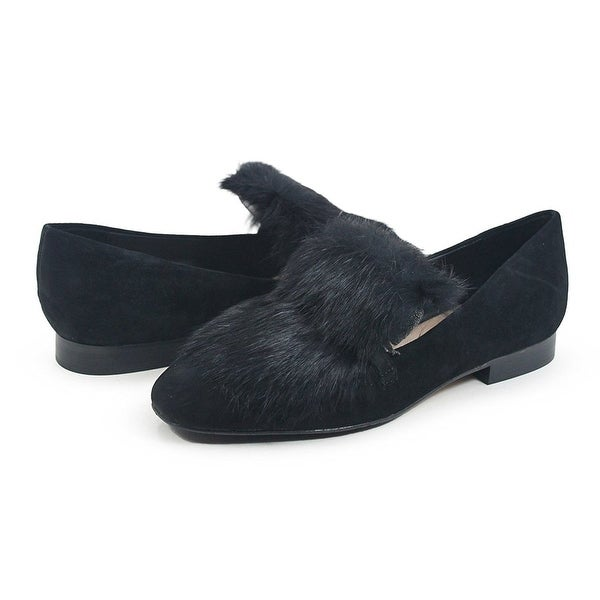 Donald J Pliner Womens Lilian Suede & Fur Loafer Black 290557E, Black, Size 8.0